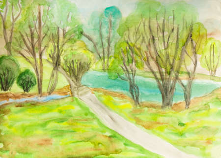 sm: Hand painted picture, summer landscape with trees and lake. Size of original 30 x 21,5 sm.