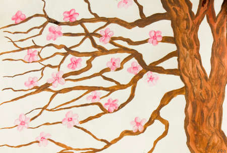 sm: Hand painted picture, watercolours, tree with pink flowers, in traditions of old traditional Japanese and Chinese painting. Size of original 30 x 21 sm. Stock Photo