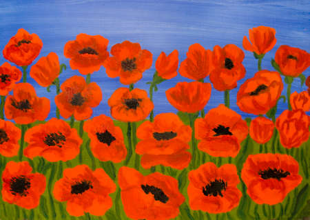 flowerbed: Many red poppies on blue sky, oil painting.