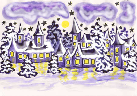 sm: Hand painted picture, watercolours - winter landscape with houses and spruces in violet colour, holiday postcard to Christmas and New Year holidays. Size of original 29,5 x 21 sm. Stock Photo