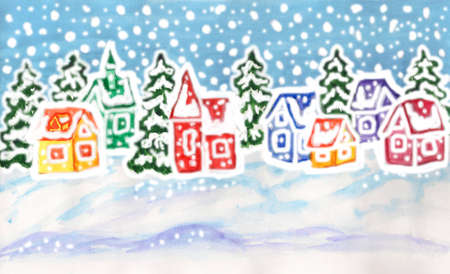 Hand painted picture to Christmas and New Year holidays, watercolours and gouache, winter landscape with fir trees and houses of different colours. Size of original 29 x 17 sm.