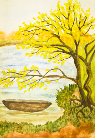sm: Hand painted picture, watercolours, autumn landscape with boat on river. Real size 30 x 21 sm. Stock Photo