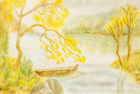 Main de tableau peint, aquarelle, paysage d'automne. Taille de originl 37 x 24,5 cm.