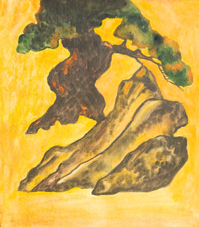 traditions: Hand painted picture, watercolours, Pine ree with rock on yellow background, in traditions of old traditional Japanese painting.