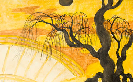 traditions: Hand painted picture, watercolours, landscape with black tree, moon and bridge on yellow background, in traditions of old traditional Japanese painting. Stock Photo
