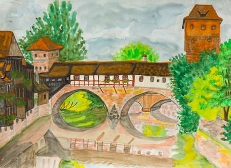 hand painted: Hand painted picture, watercolours - town Nurenberg in Germany.