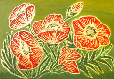 creative arts: Red poppies with golden lines on green background, oil painting with golden gouache, luminescent paint with shining glossy effect.