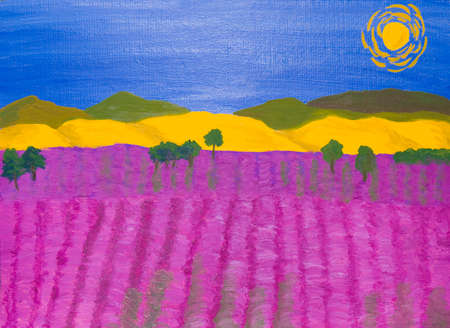 yellow hills: Landscape with lavender field and yellow hills, oil painting.