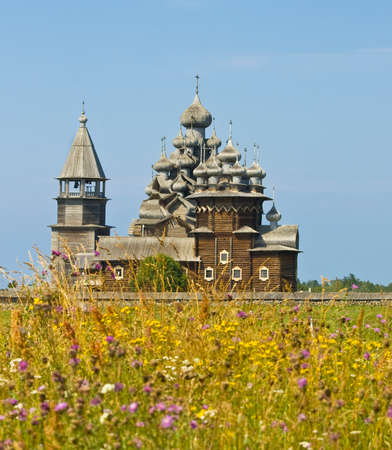 kizhi: Old wooden churches on island Kizhi on Onega Onezhskoye lake in region Karelia on North of Russia, UNESCO World Heritage site.