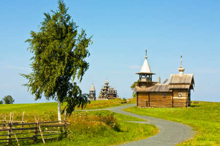 onega: Old wooden churches on island Kizhi on Onega Onezhskoye lake in region Karelia on North of Russia, UNESCO World Heritage site.