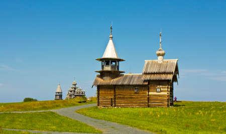 onega: Old wooden churches on island Kizhi on Onega Onezhskoye lake in region Karelia on North of Russia, UNESCO World Heritage site.