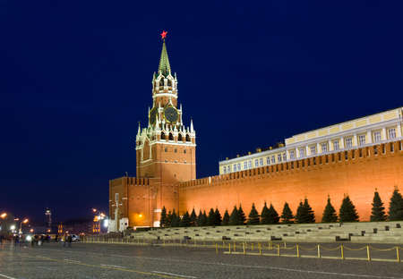 spasskaya: Moscow, Spasskaya tower of Kremlin at night. Stock Photo