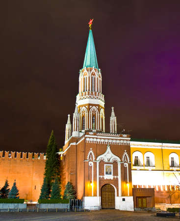 saint nicholas: Moscow, Russia - December 19, 2013: Saint Nicholas tower of Kremlin fortress at night in Moscow.