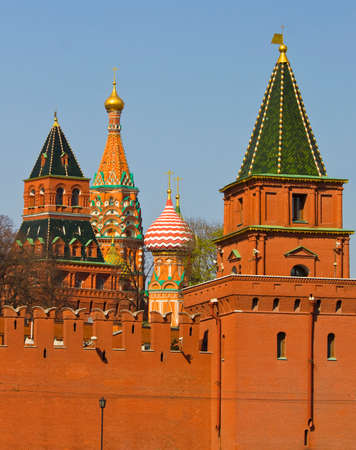 intercession: Moscow, towers of Kremlin fortress and Saint Basils Intercession cathedral. Stock Photo