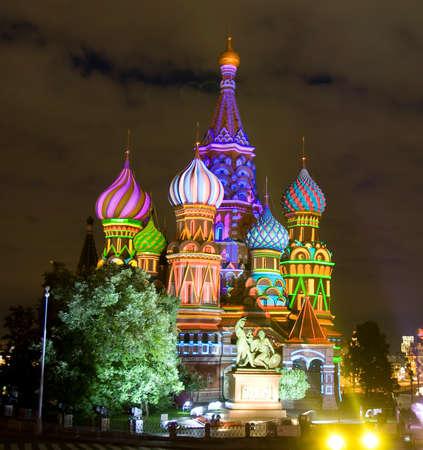 basils: Moscow, Saint Basils Intercession cathedral illuminated at night.