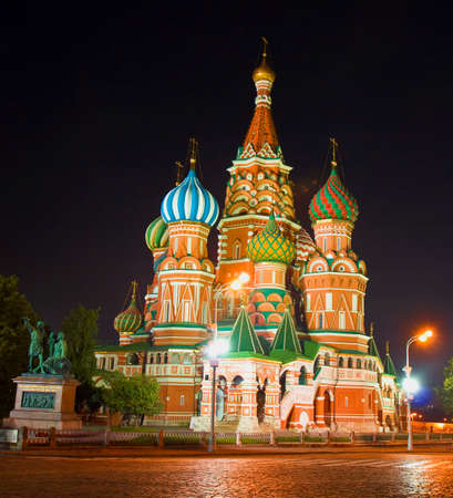 intercession: St. Basils Pokrovskiy Intercession cathedral in Moscow at night.