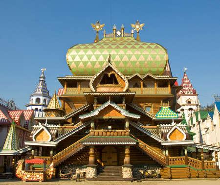 izmaylovskiy: Wooden palace in Izmaylovskiy Kremlin in region Izmaylovo - architecture ensamble of original wooden buildings, vernisage of art and crafts, famous tourist landmark in Moscow.