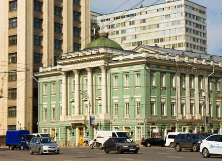 classicism: MOSCOW - MAY 15, 2014: House of Unions, has been built in 1775 year by architect Kazakov in classicism style, cross of Ohotny ryad and Big Dmitrovka streets in city centre near Kremlin.