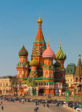 intercession: MOSCOW - APRIL 20, 2014: Saint Basils Intercession cathedral on Red square, has been built 1552.