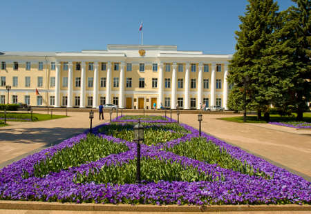 authorities: NIZHNIY NOVGOROD, RUSSIA - JUNE 03: building of regional authorities inside Kremlin town fortress on June 03, 2013 in Nizhniy Novgorod, Russia.
