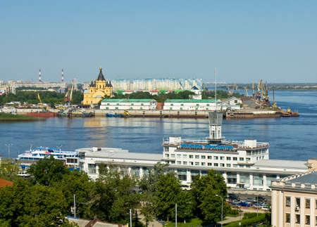 nizhni novgorod: NIZHNI NOVGOROD - JUNE 03: River port on Volga and cathedral of Alexander Nevskiy on June 03, 2013 in Nizhni Novgorod, Russia, River port has been built in 1967.