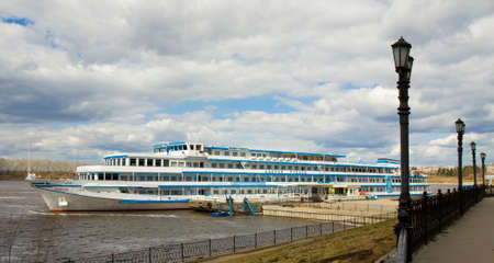 uglich russia: UGLICH, RUSSIA - MAY 01, 2013: cruise touristic ship arrives in port in historical town Uglich on river Volga, May 01, 2013 in Uglich, Russia.