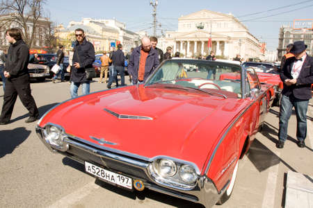 thunderbird: MOSCOW - APRIL 27, 2014: American retro car Ford Thunderbird of 1961 year on rally of classical cars, organized by Russian Club of Classical Autocars on Theatre square. Editorial