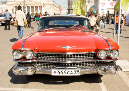 MOSCOW - APRIL 27, 2014: retro car cadillac eldorado on rally of classical cars, organized by Russian Club of Classical Autocars on Theatre square.