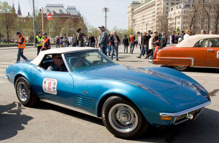 chevrolet: MOSCOW - APRIL 27, 2014: retro car chevrolet corvette of 1970 year on rally of classical cars, organized by Russian Club of Classical Autocars on Theatre square.