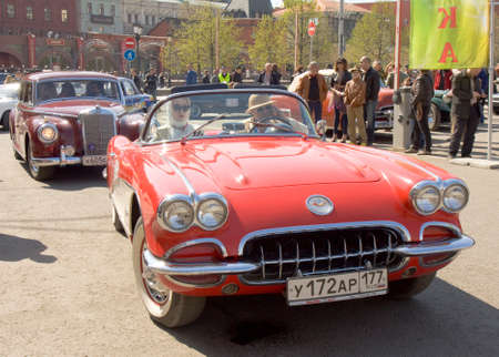 corvette: MOSCOW - APRIL 27, 2014: retro car shevrolet corvette on rally of classical cars, organized by Russian Club of Classical Autocars on Theatre square.