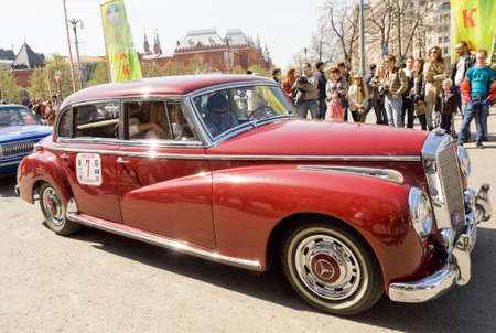 mercedes: MOSCOW - APRIL 27, 2014: retro car mercedes on rally of classical cars, organized by Russian Club of Classical Autocars on Theatre square. Editorial
