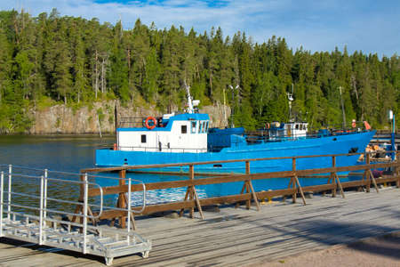 ladoga: Ship in harbour of island Valaam on Ladoga lake on North of Russia.