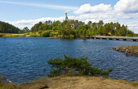 'saint nicholas': Cell of Saint Nicholas of Transfiguration of Jesus Christ monastery on island Valaam on Ladoga lake on North of Russia. Stock Photo