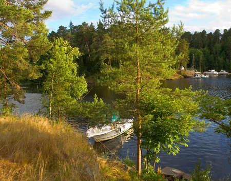 ladoga: Landscape recorded on Valaam island on Ladoga lake, Russia. Stock Photo