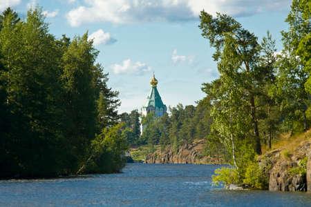 ladoga: Saint Nicholas cell on island Valaam on Ladoga lake on North of Russia. Stock Photo