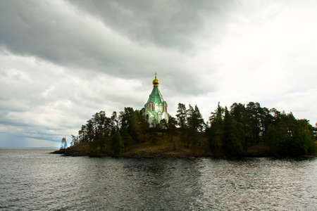 transfiguration: Russia, cell of Saint Nicholas of Transfiguration of Jesus Christ monastery on island Valaam on Ladoga lake in cloudy weather.