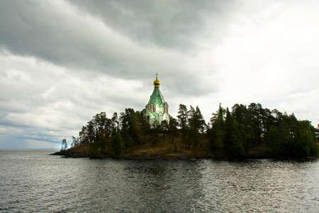 'saint nicholas': Russia, cell of Saint Nicholas of Transfiguration of Jesus Christ monastery on island Valaam on Ladoga lake in cloudy weather.