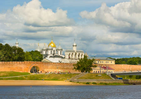 GREAT NOVGOROD, RUSSIA - JULY 14, 2014: St. Sophia (sofia) orthodox cathedral, has been built in 1050. Editorial