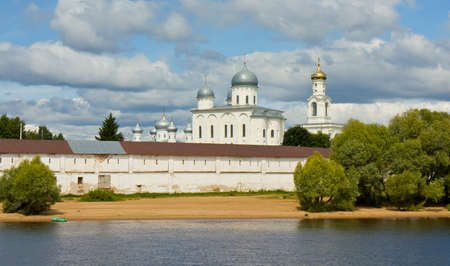 george: St. George cathedral in St. George monastery in town Great Novogord in Russia. Stock Photo