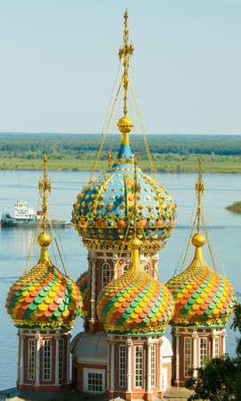 nizhni novgorod: Detail of orthodox Stroganovskaya church of St. Mary in town Nizhni Novgorod on river Volga in Russia.