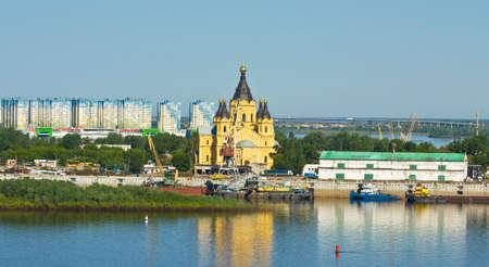 nizhni novgorod: Orthodox Alexander Nevskiy cathedral in town Nizhniy Novgorod on Volga river in Russia. Stock Photo