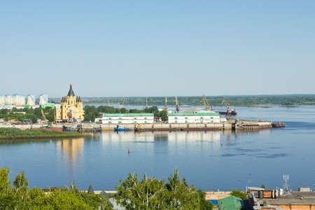 nizhni novgorod: Orthodox cathedral of Alexander Nevskiy in town Nizhni Novgorod on Volga river in Russia.