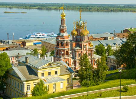 nizhni novgorod: Stroganovskaya orthodox church of St. Mary in town Nizhni Novgorod on Volga river in Russia.