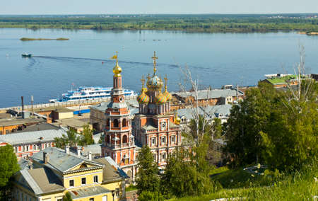 birthday religious: Stroganovskaya orthodox church of Birthday of St. Mary in town Nizhni Novgorod on Volga river in Russia.