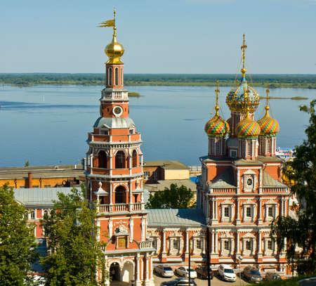 nizhni novgorod: Stroganovskaya orthodox church of Saint Mary in town Nizhni Novgorod on Volga river in Russia.