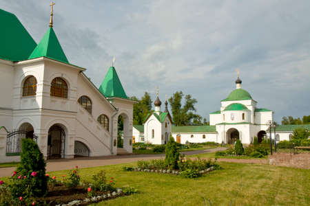 transfiguration: Monastery of Transfiguration of Jesus Christ Saviour in town Murom in Russia, house of prior, chapel of St. George and entrance church of Kirill Belozerskiy. Stock Photo