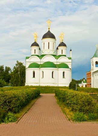 transfiguration: Cathedral of Transfiguration of Jesus Christ of Transfiguration of Jesus Christ monastery in town Murom, Russia. Stock Photo