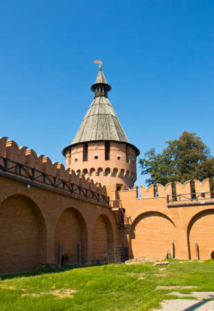 spasskaya: Spasskaya tower of town fortress Kremlin in town Tula, Russia. Stock Photo