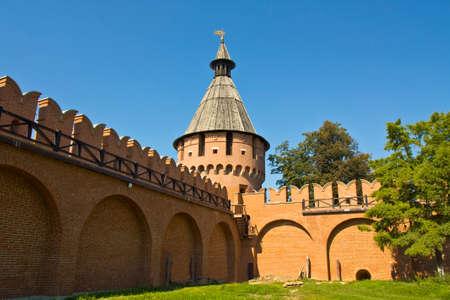 spasskaya: Spasskaya tower of Kremlin fortress in town Tula, Russia. Stock Photo