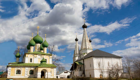 uglich russia: Cathedral of St. Alexey and Maverllous church in orthodox monastery of St. Alexey in town Uglich, Russia. Stock Photo